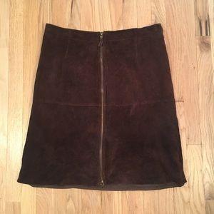 Isaac Mizrahi brown leather skirt size 18